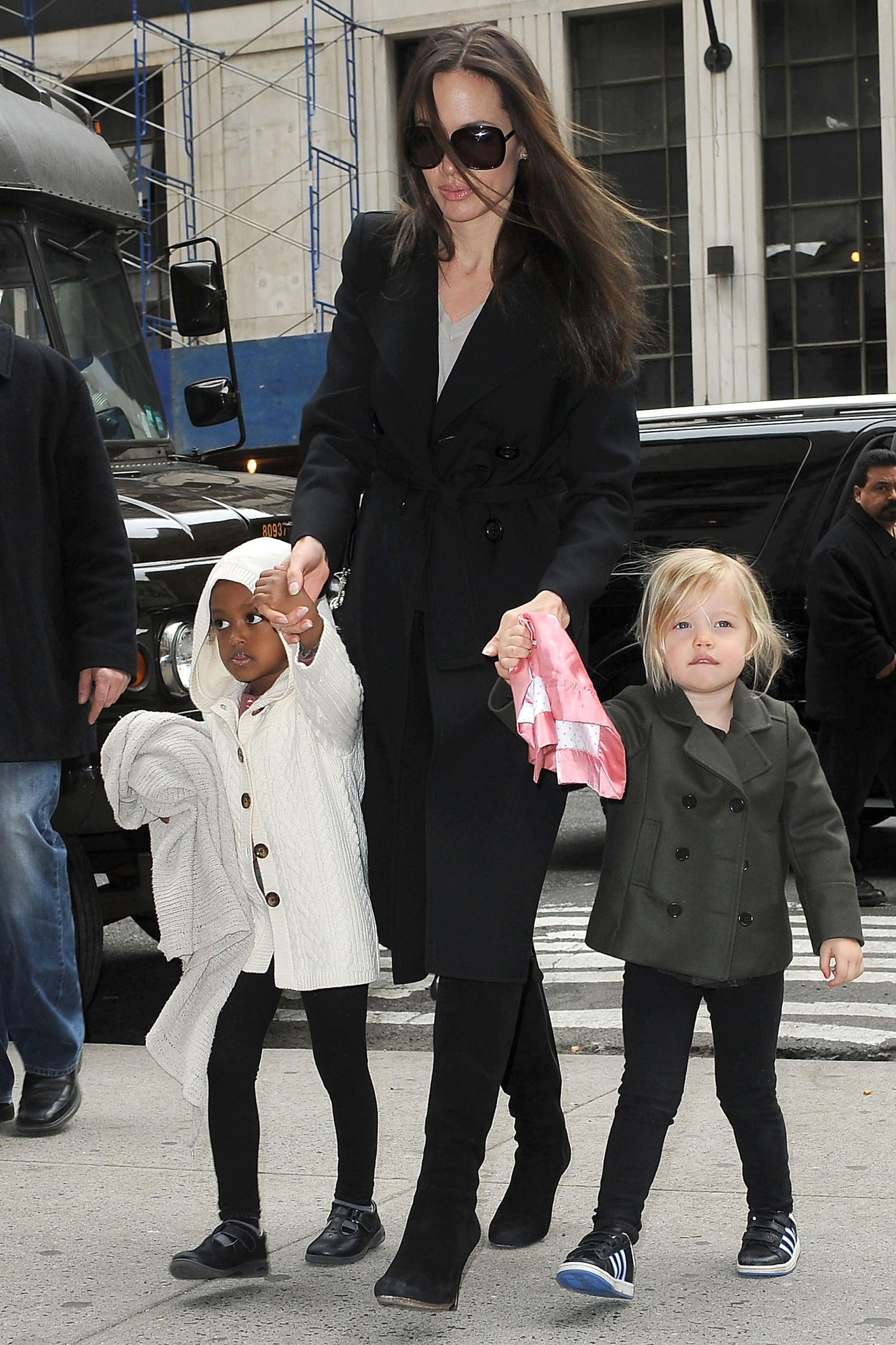 Photos of Angelina Jolie with Shiloh and Zahara in NYC