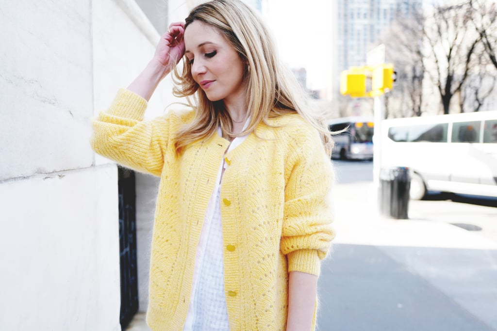 For a sleek accent, I mixed in medium-size hoops in yellow gold which is my everyday go-to.  On Laura: POPSUGAR at Kohl's puff-sleeve button-down top, Little Moon Rosella cardigan sweater, Monica Vinader hoop earrings.