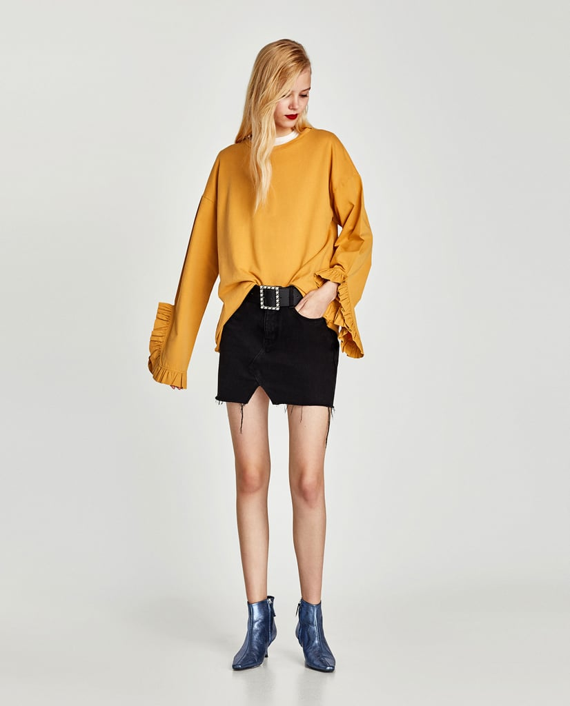 Zara Top With Frill Sleeve