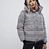 QED London Check Printed Duvet Puffer Jacket