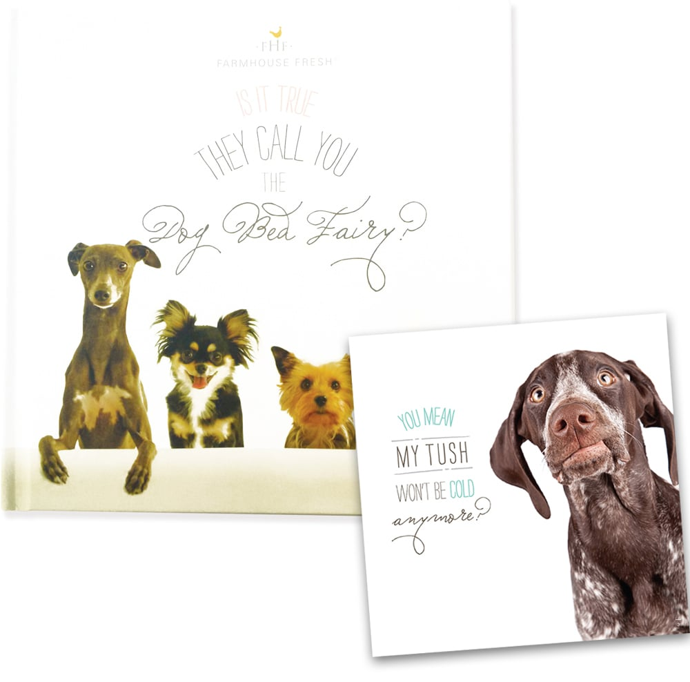 By purchasing Is It True They Call You the Dog Bed Fairy? ($10), $7 from each sale will go directly toward buying dog beds for donations to shelters. The book, from skin care line FarmHouse Fresh, is available online as well as in spas and retail stores that carry the brand's products.