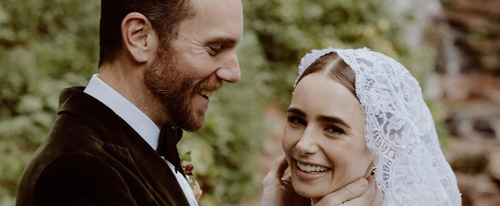 See Lily Collins's Ralph Lauren Lace Wedding Gown