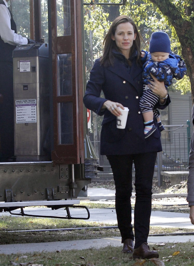 Jennifer Garner carried Samuel Affleck and coffee in New Orleans.