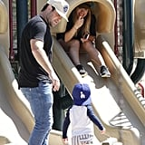Hilary Duff and Mike Comrie played on the slides with their son, Luca.