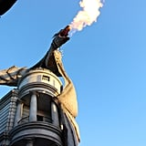 The Gringotts dragon breathes real fire.