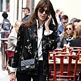 Karen Walker's Northern Lights sunglasses ($250) accompanied Alexa Chung and her floral jacket during a stroll in NYC.