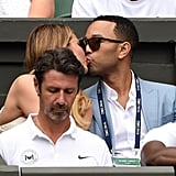 Chrissy and John shared a smooch during Wimbledon in July 2015.