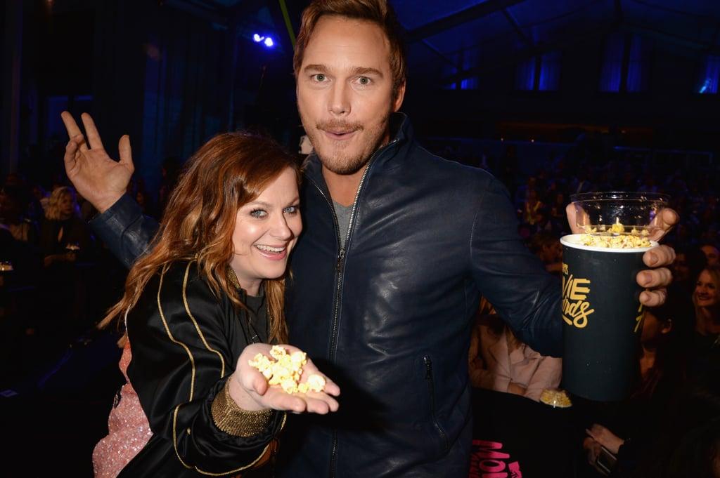 Chris Pratt and Amy Poehler at the MTV Movie Awards 2016