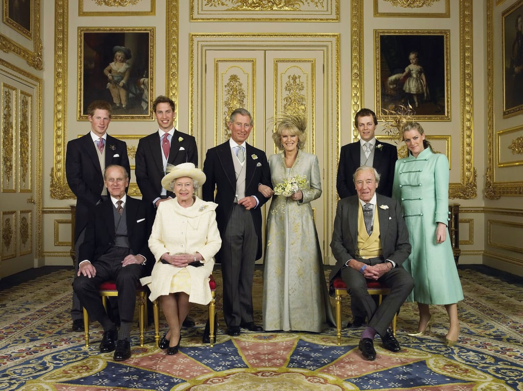Celebrating her son Prince Charles's marriage to Camilla Parker-Bowles in 2005.