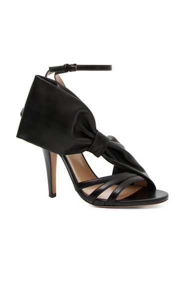 Valentino Leather Side Bow Ankle Strap Sandals in Black