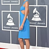 Karlie Kloss posed on the Grammys red carpet.