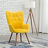 Roundhill Silky Velvet Tufted Button Accent Chair
