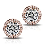 Fleur Rouge 18K Rose Gold-Plated Cluster Round-Cut Stud Earrings