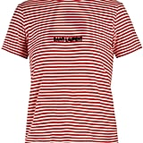 Saint Laurent Logo-Intarsia Striped T-Shirt