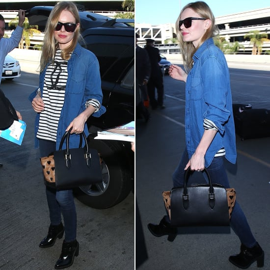 Kate Bosworth's Airport Outfit With Burberry Heart Bag