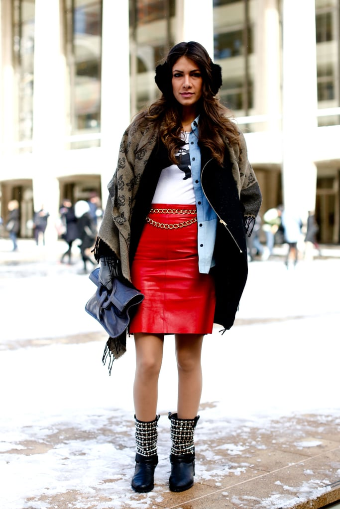 Red leather was the city-slick counter to cozy layers up top.