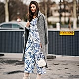 Stand out on dressed up occasions by pairing printed wide-leg pants with a coordinating top and heels.