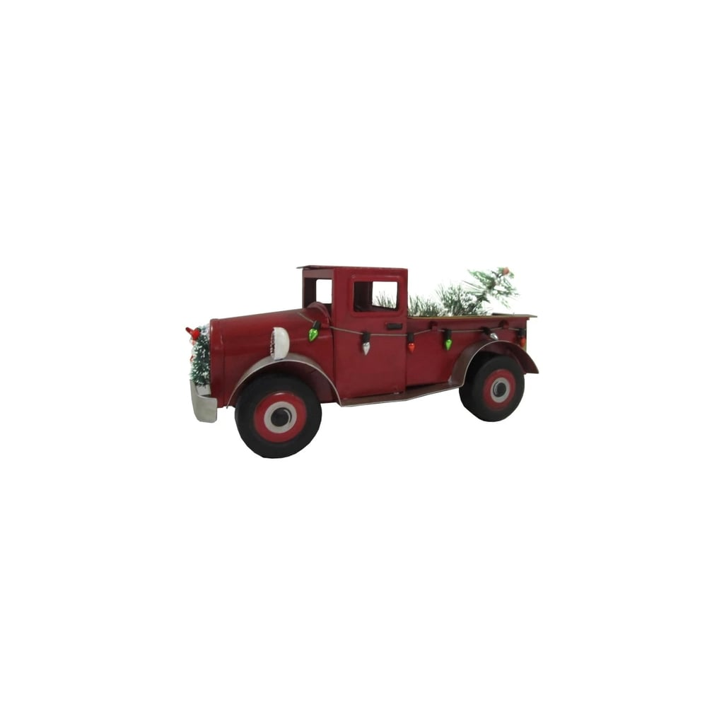 red truck christmas figurine