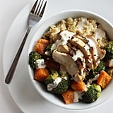 Chicken and Veggie Quinoa Bowl With Tahini Dressing