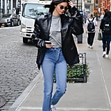 Kendall Jenner kept her look clean with a sleek R13 leather jacket.