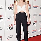 Most recently, Kristen Stewart showed off her midriff in head-to-toe Spring '13 Balenciaga (Ghesquière's last collection for the house) to the On the Road premiere in LA.