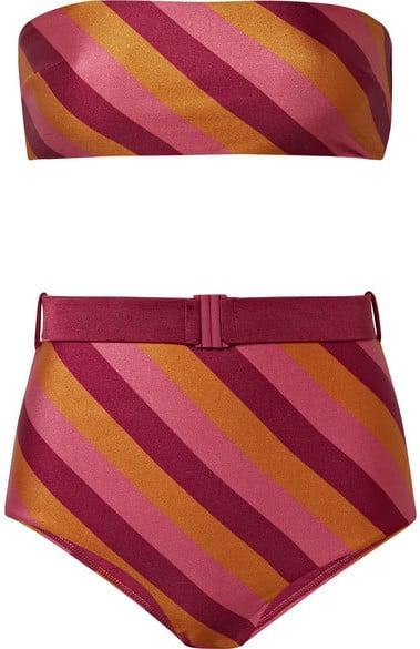 4d859173d8 Zimmermann Kali Belted Striped Bandeau Bikini