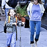 Sarah Jessica Parker walked alongside James Broderick's scooter in NYC.