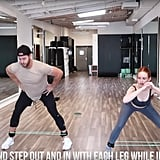 Put those ankle bands back on, get into a squat position, and step out and in with alternating legs while keeping your butt back.