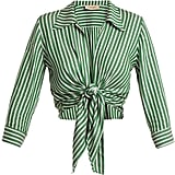 Adriana Degreas Striped Tie-Front Cover-Up