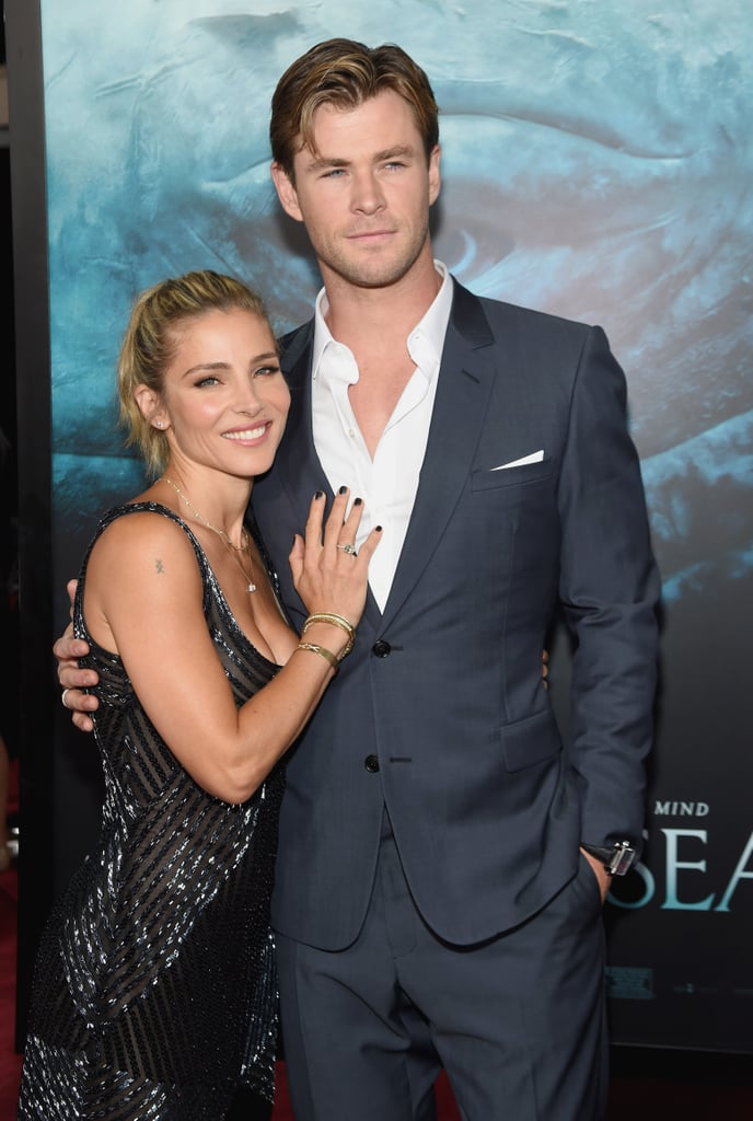 """On Monday, Chris Hemsworth and his wife, Elsa Pataky, attended the New York premiere of Chris's upcoming film In the Heart of Sea looking hot as hell! The pair, who tied the knot in 2010, clearly knows a thing or two about making an entrance, since this is the second time this month that they've turned heads on a red carpet. Just last week, Chris and Elsa made a scorching-hot appearance at the movie's Madrid premiere, further solidifying their status as one of Hollywood's hottest duos. Scroll through to see more of Chris and Elsa, then check out their """"aw""""-inducing family photos."""