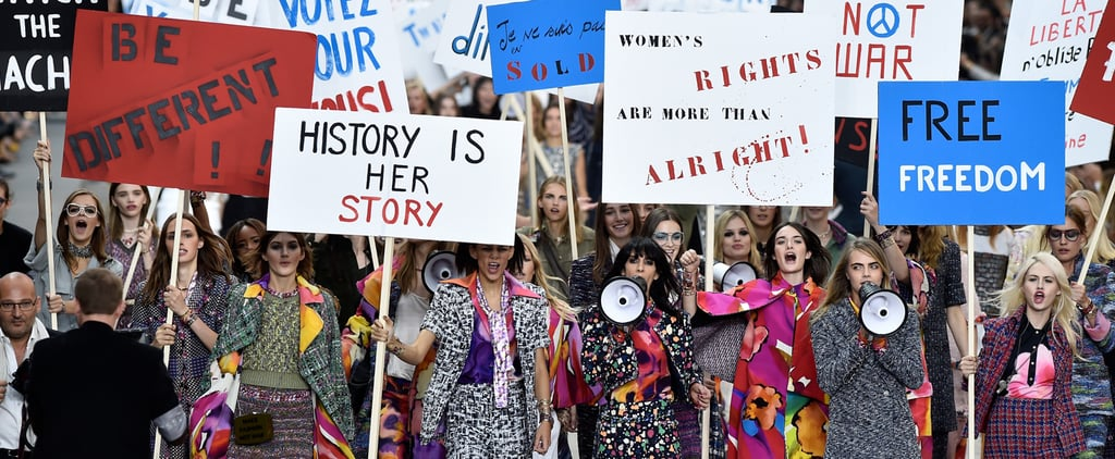 Chanel Spring 2015 Runway Show Protest Pictures