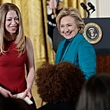 Chelsea Clinton joined her mom, Hillary Clinton, in the audience.