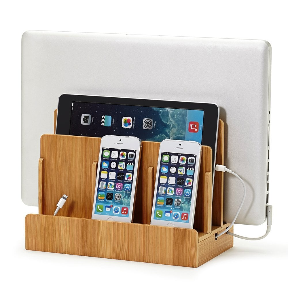 For the Organized: Eco-Friendly Bamboo Multi-Device Charging Station and Dock