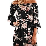 Colorful House Women's Beach Off-Shoulder Sleeved Floral Print Tunic Dress