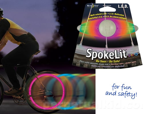 The psychedelic, waterproof Spokelit Color Changing Wheel Light ($8) keeps you safe on night roads with a flash of rainbow-colored light.