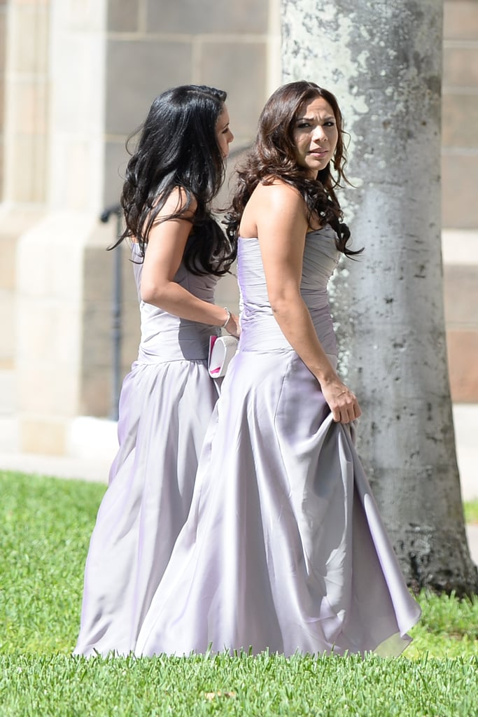 The bridesmaids at Michael Jordan's wedding wore purple.