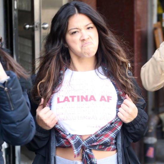"Gina Rodriguez Wearing ""Latina AF"" Shirt in NYC April 2018"