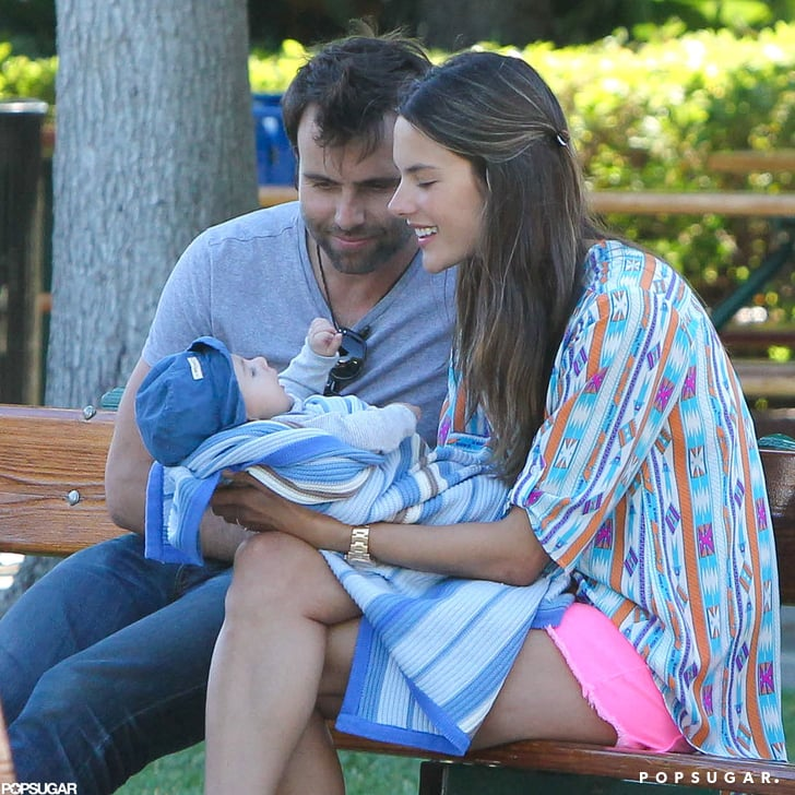 Jamie Mazur and Alessandra Ambrosio smiled with Noah.