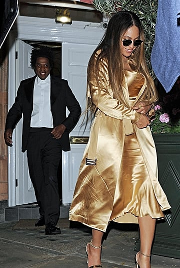 Beyoncé Gold Dress and Trench Coat With JAY-Z in London