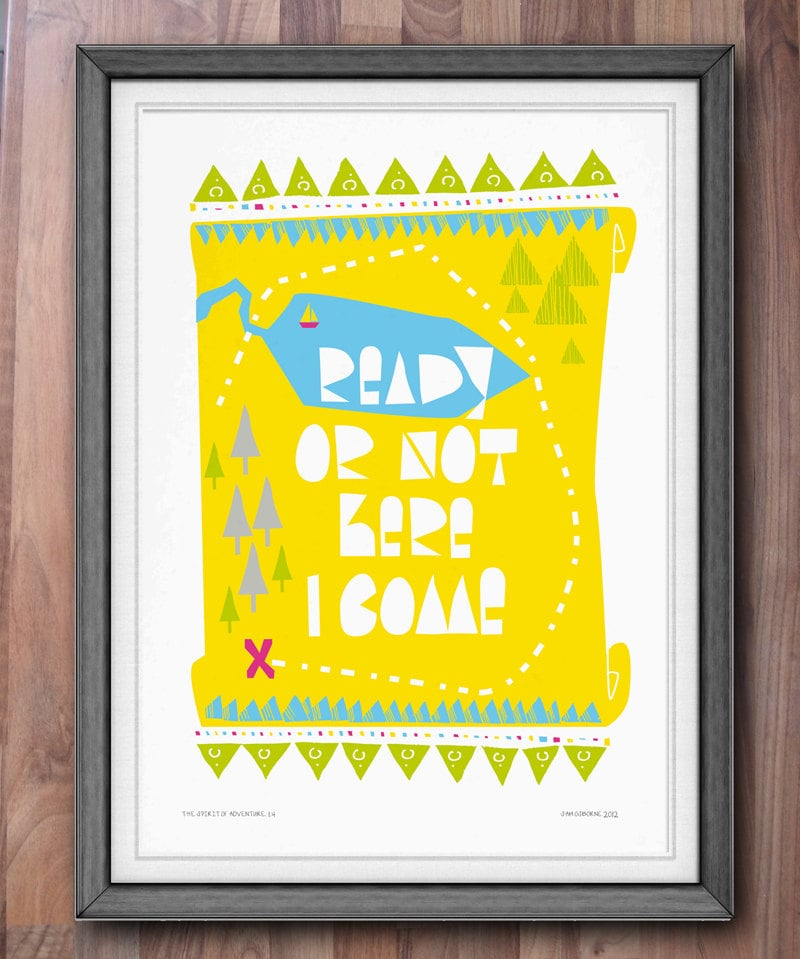 Creative and bright, this treasure map poster ($31) is all about adventure and being bold.
