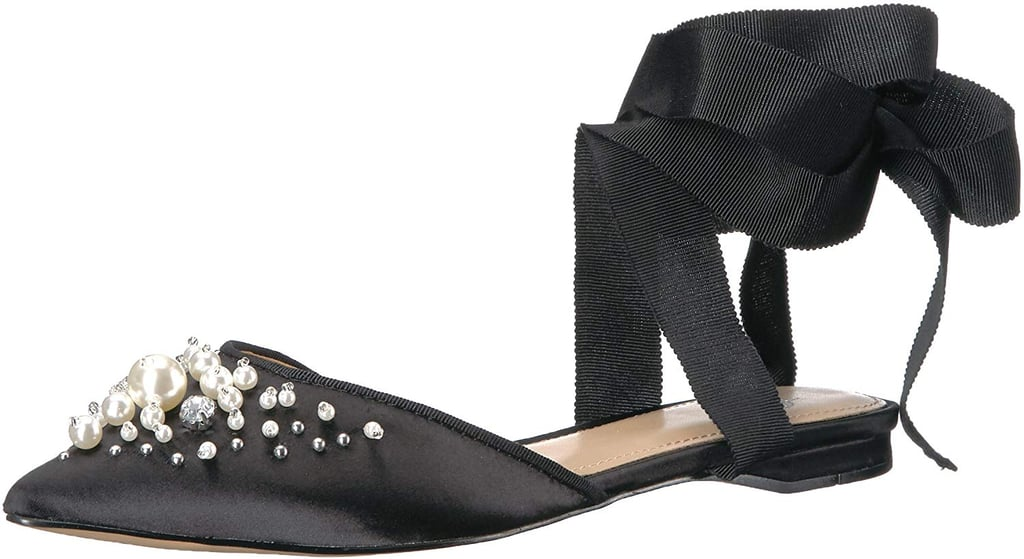 The Fix Porter Ankle Wrap Flats With Pearls