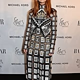 For the Harper's Bazaar Women of the Year Awards, Jenna wore a gorgeous embroidered dress by Mary Katrantzou, with Chloe Gosselin heels, a Tyler Ellis bag, and Cartier jewellery.