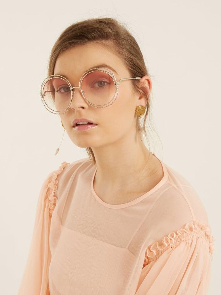 be2ec162 Chloé Carlina Round Frame Sunglasses | Blake Lively Pink Chanel ...