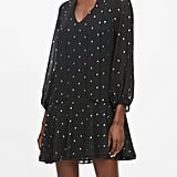 Metallic Dot Tie-Neck Dress