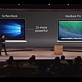 Microsoft claims the Surface Book is two times more powerful than the Macbook Pro.