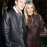 JT helps then-girlfriend Britney Spreads promote her movie Crossroads at Planet Hollywood in 2002.