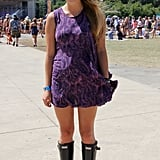 One of the few attendees who noted the thunderstorms in the forecast, this well-prepared attendee opted to pair her sundress with black Wellies.