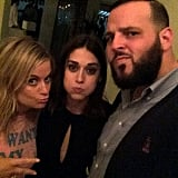 Amy Poehler, Lizzy Caplan and Daniel Franzese celebrated Lizzy's birthday and Emmy nomination at the Chateau Marmont in August. Source: Instagram user whatsupdanny