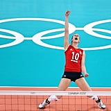 Great Britain's Lynne Beattie showed her excitement during a volleyball game against the Dominican Republic.