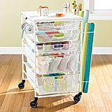 White Elfa Mesh Gift Wrap Cart